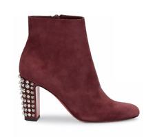 Christian Louboutin 85mm Suzi Folk Prune Studded Suede Ankle Boots Size 40 14757