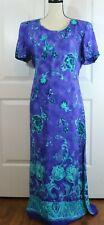 Dressbarn Purple Blue Green Floral Short Sleeve Long Dress