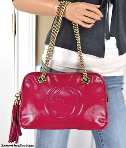 GUCCI SOHO FUCHSIA PINK PATENT LEATHER SMALL DOUBLE CHAIN SHOULDER BAG HANDBAG