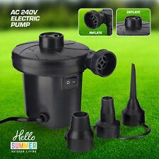 Electric Air Pump Inflator Deflator Air Bed Camping Pool Inflatable 240V UK Plug