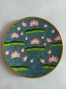 Wall Hanging wooden plates lotuses hand painted floral artwork pichwai style