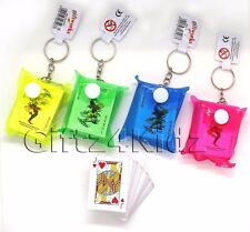 Mini Playing Cards Plastic Wallet Keyring Keychain Travel Party Loot Bag Filler