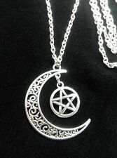 """PAGAN WICCA Moon Pentacle Tibetan Silver Charm Amulet Pendant 30"""" Chain Necklace"""