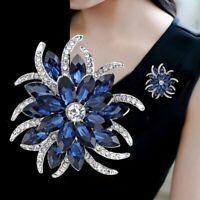 Fashion Blue Crystal Rhinestone Flower Plant Bridal Bouquet Brooch Pin Women Hot