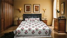 Rajasthani Pure Cotton Hand Block Flower Design Double Bed Sheet & Pillow Case