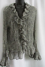 """""""TRIBAL"""" SIZE10 BUTTON DOWN L. SLEEVE RUFFLED FIGURE FIT/FLORALBLACK/GRAY NWOT"""