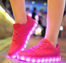 New Women LED Light Up Luminous Shoes Candy Color Casual Sportswear USB Sneakers