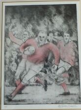 Original Print Picture  Etching of  Men RUGBY PLAYERS, SPORT  Rugby, signed