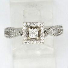 14k White Gold Princess & Round Diamond Engagement Ring .76ct