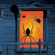 2 x Halloween Large Spider Silhouette Glowing Window Decorations Spooky Party UK