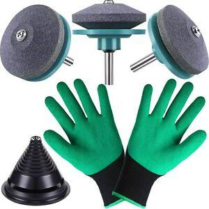 5PCS Lawn Mower Blade Sharpener Balancer Gloves Kit Grinder Sharpening Tool