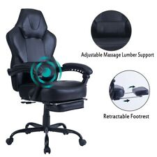 Healgen Gaming Chair Computer Desk Chair with Footrest Lumbar Massage Support