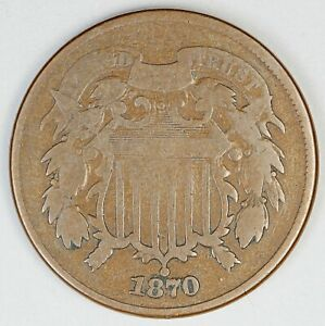 1870 United States Two-Cent Piece Shield - VG Very Good Condition