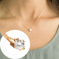 Women Crystal small Pendant Dainty long chain Necklace Bridal Jewelry