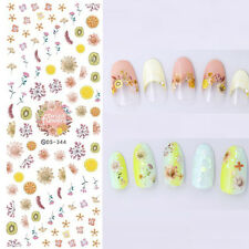 Nail Water Decals Dried Flowers Lemon Kiwi Nail Art Transfer Stickers Manicure