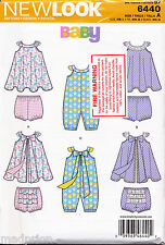 NEW LOOK SEWING PATTERN 6440 BABY SZ NB-L SUN DRESS, ROMPER, NAPPY COVERS/PANTS