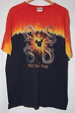 Vintage Walt Disney World Mens T Shirt XL Black Red Yellow Tie Dye Dragons Mouse