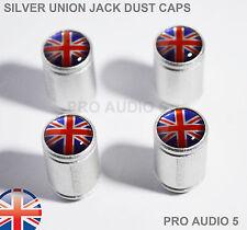Silver Body Union Jack Dust Valve Caps Red -Car Van VW Ford Mini TVR Vauxhall UK
