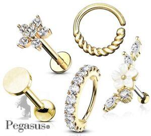5 X Gold Flower Gift Set  Upper Ear, Daith,Cartilage,Helix,tragus, Hoop,Bar