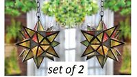 2 LARGE multi point color Moroccan STAR hanging Candle holder swag light outdoor
