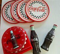 Vintage Coca Cola Lot - MAGNETIC TIMER, COKE BOTTLE CORN HOLDERS, COASTERS