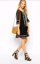 NWT SISTER JANE ASOS Dress Sing Song 3/4 Sl Embroidered Holiday Party Black M