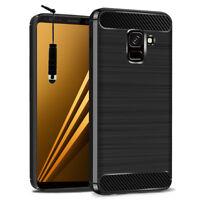 Coque Silicone Souple Fibre de Carbone Brossé Samsung Galaxy A8 (2018) A530F 5.6