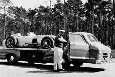 Mercedes-Benz racing car transporter & Mercedes 300 SLR F1 & Fangio - 1955 test