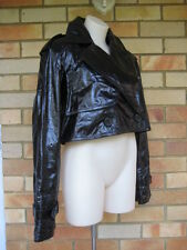 LANVIN Black Crinkled Leather Trench Coat Jacket F40 New $4,750 fits I44 I46 M L