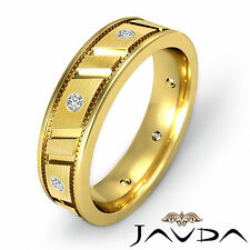 Center Matt Solid Ring Diamond Mens Eternity Wedding Band 18k Yellow Gold 0.25Ct