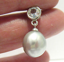 STERLING SILVER AQUAMARINE GRAY PEARL PENDANT 2.9 GRAMS SYBOLL