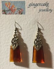 STUNNING LRG EGYPTIAN DECO STYLE RICH BROWN GLASS GOLD PLATED DROP EARRINGS Hook