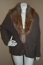 Twelfth Street By Cynthia Vincent Slouchy Removable Fur Collar Cardigan~Size S