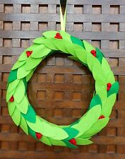 THIS BEAUTIFUL SOFT FELT GREEN HOLLY LEAVES WITH RED BERRIES CHRISTMAS WREATH