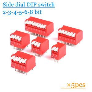 5pcs Side dial DIP switch Coding switch Flat dip switch 2/3/4/5/6/8 bit Digital