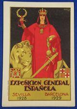 Vintage Spanish Postcard Exposition Poster Art lion woman 1920s antique old card