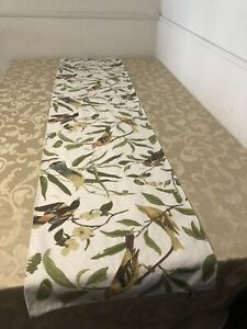 Pottery Barn Birds Floral Table Runner BIG 18x90 Inches 18 X 90 Cotton Blend EUC