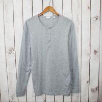Handvaerk Men's Long Sleeve Henley Shirt Heather Gray Peruvian Cotton size 1