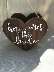 Flower Girl Basket with Here Comes The Bride Word Engrave | Wedding
