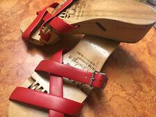 Vtg 1950s Sz 8 Flexiclogs Flexi Clog Wooden Articulated Red Sandals