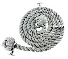 36mm Grey Synthetic Bannister Handrail Rope x 11FT C/W 4 Chrome Fittings