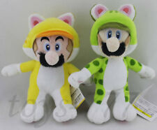 "Set of 2 Super Mario 10"" Cat Luigi 9"" Cat Mario Plush soft Toys Stuffed Animal"