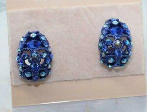 """ST JOHN Blue Swarovski Sparkling Designer 1""""  Clip on Earrings"""