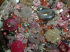 Huge Bead Lot 450+ Pretty in Pink! Swarovski, Rose Quartz, Crystal, Druzy  (USA)