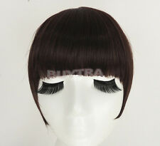 FadClassic Fringe Clip In On Bangs Straight Hair brown black WIG faux hair MW