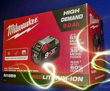 Milwaukee batteria originale M18B9 18v 9.0Ah HIGH DEMAND RED LITHIUM-ION new2018