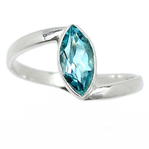 Blue Topaz 925 Sterling Silver Ring Jewelry s.8 BR106919