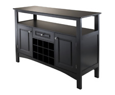 Buffet Sideboard Table Cabinet Kitchen Storage Wood Dining Room Wine Rack Black