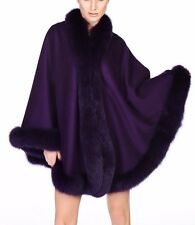 Purple Cashmere Cape Wrap Shawl with Fox Fur Trim New