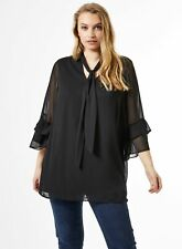 Dorothy Perkins Womens Curve Black Flute Sleeve Tunic Top Tie Neck Blouse Top